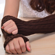 1 Pair Fashion Women Warm Soft Gloves Lady Winter Autumn  Arm Warmer Twist Long Fingerless Knit Mitten