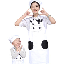 2017 Chef Uniform Women Hot Sale Promotion Cotton Aprons Broadcloth Korean Cartoon And Cow Suit Antifouling Apron Child