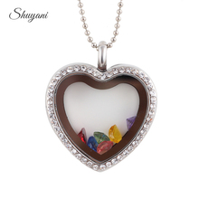 1PC!! Free Chain Silver Crystal Heart Floating Locket Pendant Magnetic Glass Locket with Birthstone Charms(China)