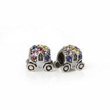 Fashion Drop Oil Car Bead Plated Silver/Colour European Charms Beads Big Hole Beads Fit for Jewelry Making Bracelet Necklace DIY(China)