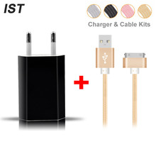 2017 IST Charger Cable Kits Phone Cable For iPhone 4S 4 Cable 5V 1A Portable Travel Charger EU Plug Mobile Phone Charger Cable