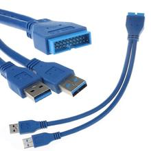 Good Sale  2 Port USB 3.0 A Male to 20 Pin Male Motherboard Extension Cable Adapter Free shipping & wholesale Jan 5