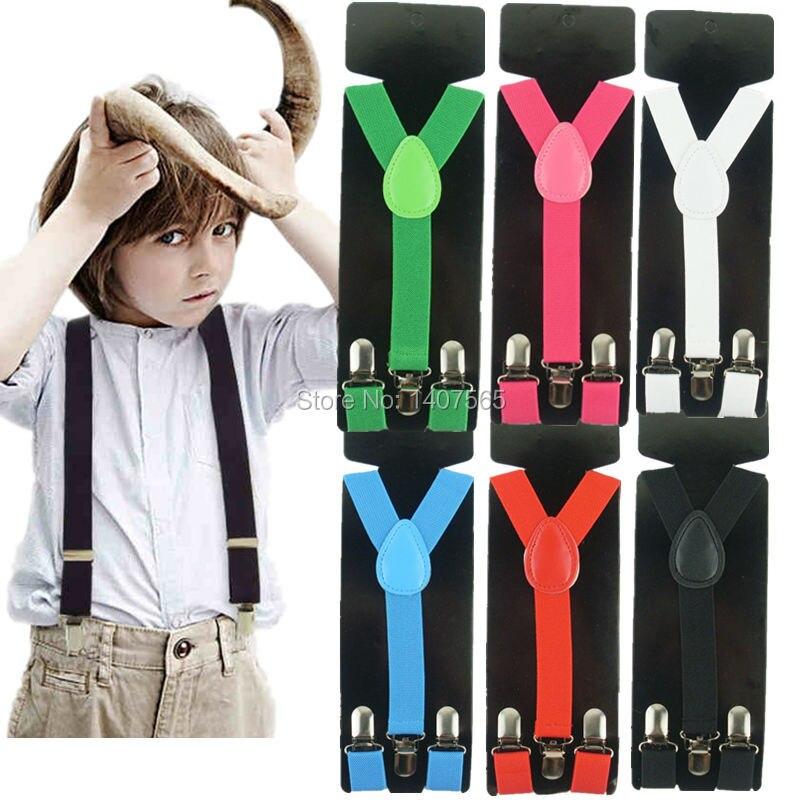 """Kids New 1"""" Black Suspenders Baby Made in Boys Elastic Adjustable Toddlers"""
