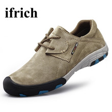 Ifrich Spring/Autumn Hiking Shoes Men Outdoor Sneakers Leather Trekking Boots Brown/Blue Men Climbing Shoes Walking Sneakers