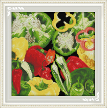 Joy sunday life style Chillies ornament kitchen cross embroidery stitch needlepoint crosses for handwork craft(China)