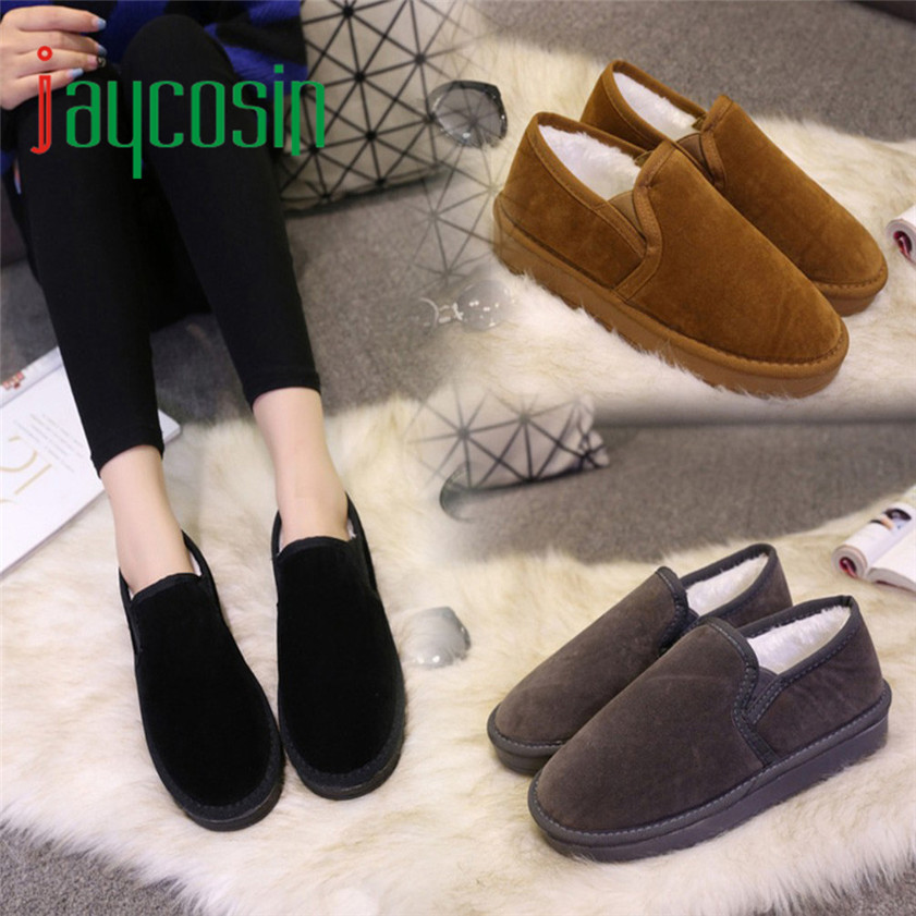 High quality Fashion Women Boots Flat Ankle Fur Lined Winter Warm Snow Shoes Lazy shoes 170210<br><br>Aliexpress