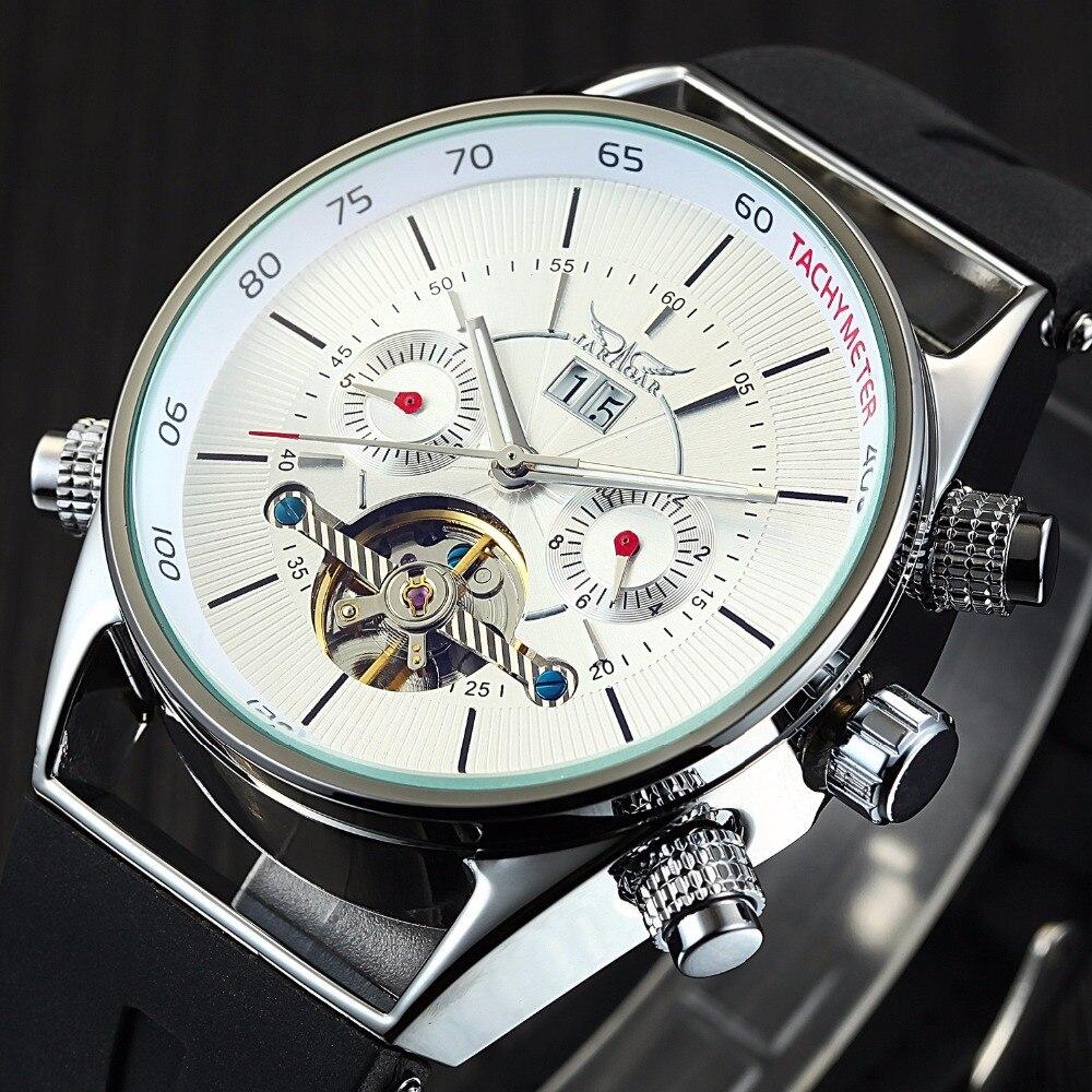 JARAGAR Top Brand Luxury Mens Watches Fashion Tourbillon Man Automatic Mechanical Watches Rubber Band Skeleton Relogio Masculino<br>