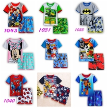 Retail! summer Baby Sleepwears  dog Suits Boys Pajamas Children Pyjamas Girls Cartoon short sleeve Pijamas