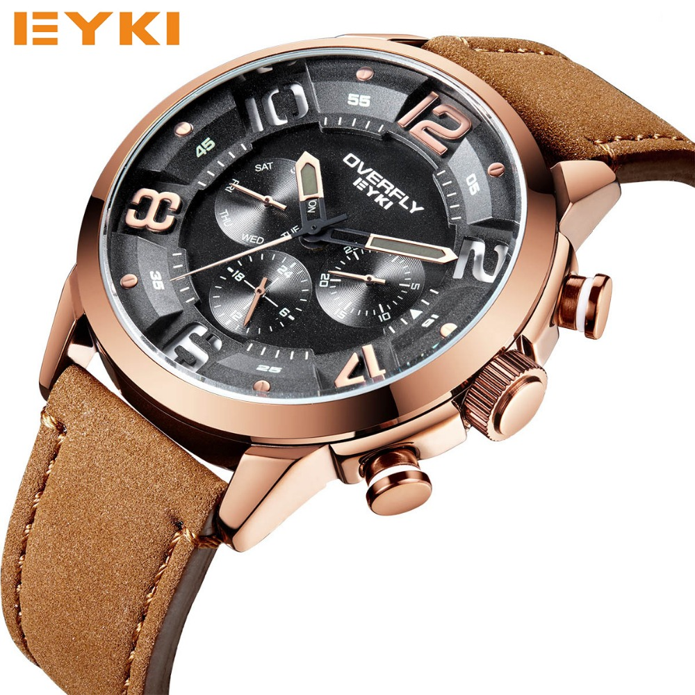 EYKI Fashion Racing Sport Watches For Men Three Eyes Multifunction Stereoscopic Dial Luminous Top Brand Man Watches Quartz-watch<br>