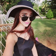 Newest Fashion Women All-Match Wide Brim Sun Hat Summer Beach Vacation Folding Hat Factory Price(China)
