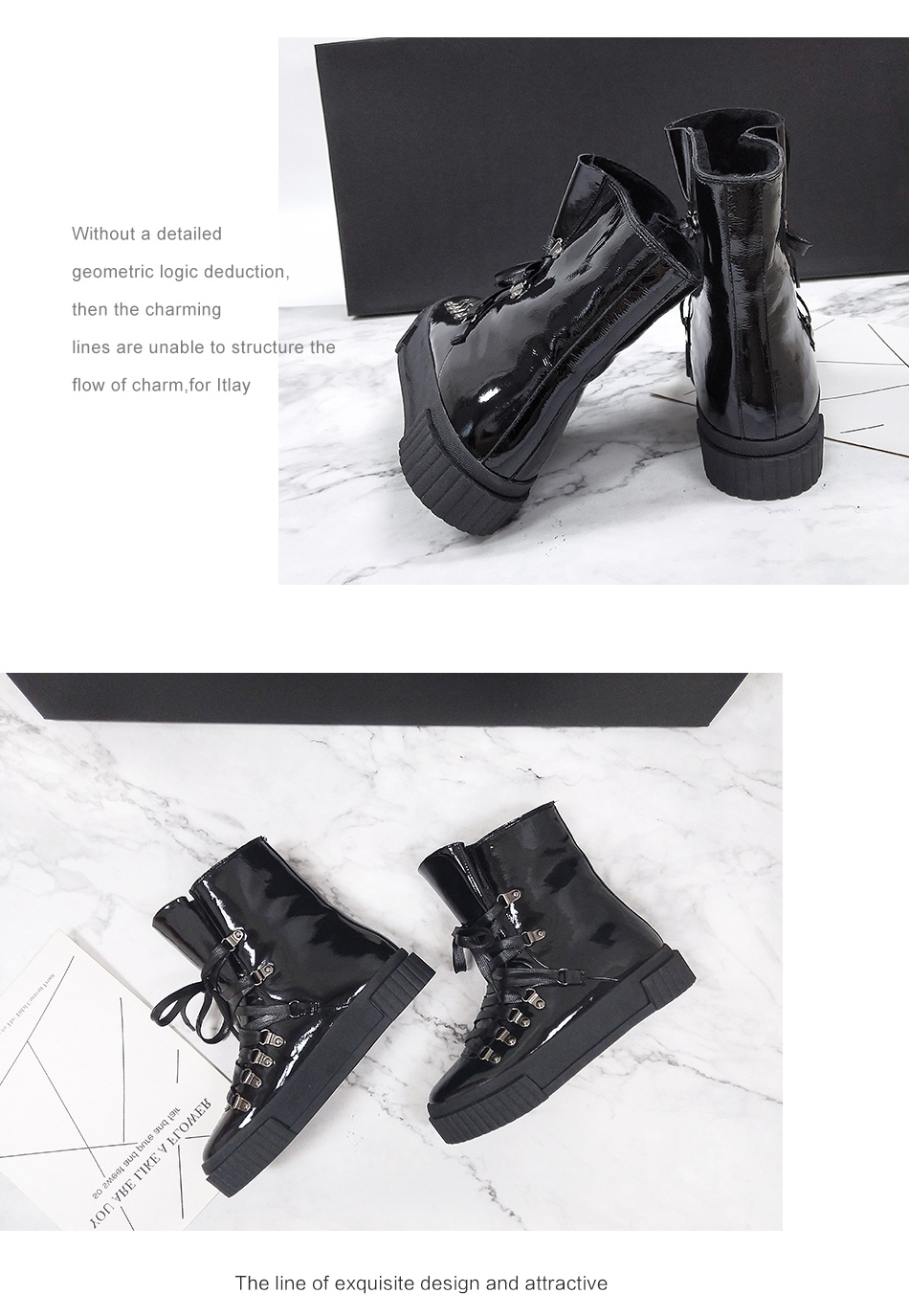 Donna-in 2018 Fashion Winter Ankle Boots Women Leather Platform High Heel Lace Up Short Pulsh Warm Female Boots Ladies Shoes (3)
