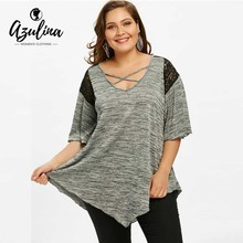 Buy AZULINA Plus Size Flare Sleeve Tunic Asymmetrical T-Shirt Women Casual V-Neck Half Sleeve Lace Panel Womens Tops 2018 T Shirt for $12.99 in AliExpress store