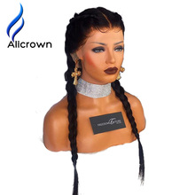 Alicrown Glueless Full Lace Human Hair Wigs For Black Women Bleached Knots Pre-Plucked Remy Brazilian Hair Wigs With Bay Hair(China)