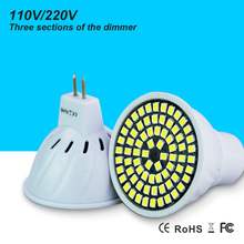 Led dimmer Bulb 2835 SMD AC 220V 110V Light MR16 GU10 74 Leds Lamp Energy Saving Spotlight GU5.3 For Indoor Decoration Lighting(China)