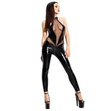 HU&GH Black Faux Vinyl Sleeveless Long Bodysuits Transparent Mesh Patchwork Open Back Crotchless Wetlook Leather Sexy Jumpsuits