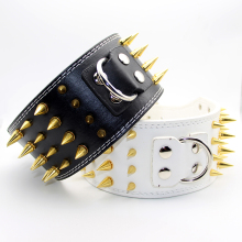 3 Inch Cool Big Large Dog Collar Spiked Studded Collar For Pitbulls Golden Retriever  Luxury PU Leather Dog Pet Spike Collar