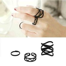 Europe And the United States Star Models Frosted Black Wild Joint 3 Sets Of Rings(China)