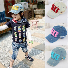 Fashion Embroidery Children Baseball Caps, Baby Boys Girl Denim Baseball Cap,Kids Summer Mesh Sun Hat