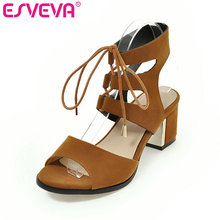 ESVEVA 2017 Rome Style Square Med  Heel Woman Pump Peep Toe Summer Women Shoes Flock Lace Up Fashion Wedding Shoes Size 34-43