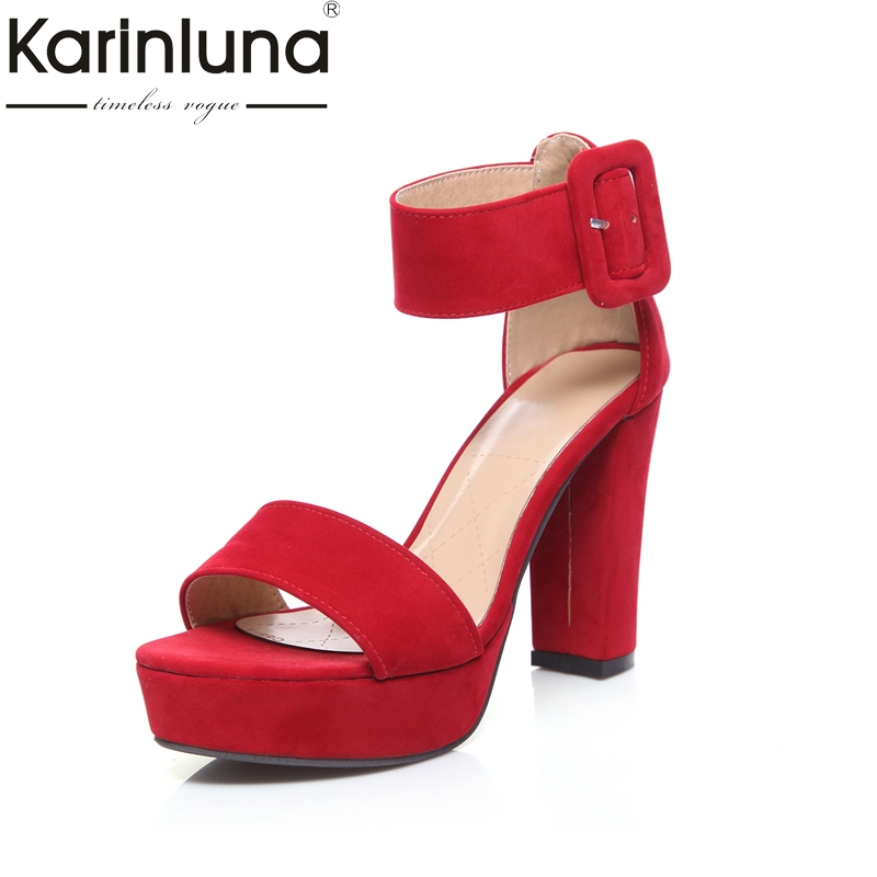 KarinLuna 2018 Plus Size 34-41 Women Shoes Sexy Square High Heels Open Toe Platform Woman Sandals Summer Party Wedding Footwear<br>