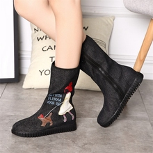 Autumn Winter Cartoons Embroidered Women Casual Canvas Mid Calf Boots Cute Denim Cotton Zip Flat Booties Shoes Boats Mujer Black(China)