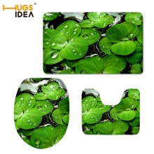 HUGSIDEA Creative 3D Green Leaves Printed Bathroom Non-slip Velvet Floor Carpet Area Rugs for Toilet WC 3PS/Set Soft Mat Pads