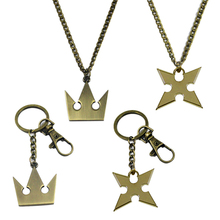 New Kingdom Hearts Figure Toys Keychain Pendant High Quality Metal Cosplay Imperial Crown Necklace Key Chains For Kids Gift