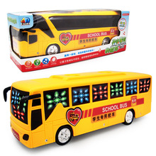 [Bainily]Glow Music Electronic Toy car Automatic Steering Flashing Music Electric Alloy Model school bus and Bus toy Kids Gifts(China)