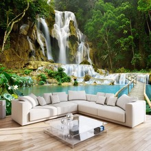 Forest Waterfall Nature Landscape Photo Wall Mural For Bedroom Living Room Sofa Backdrop Decor Non-woven Customized 3D Wallpaper(China)