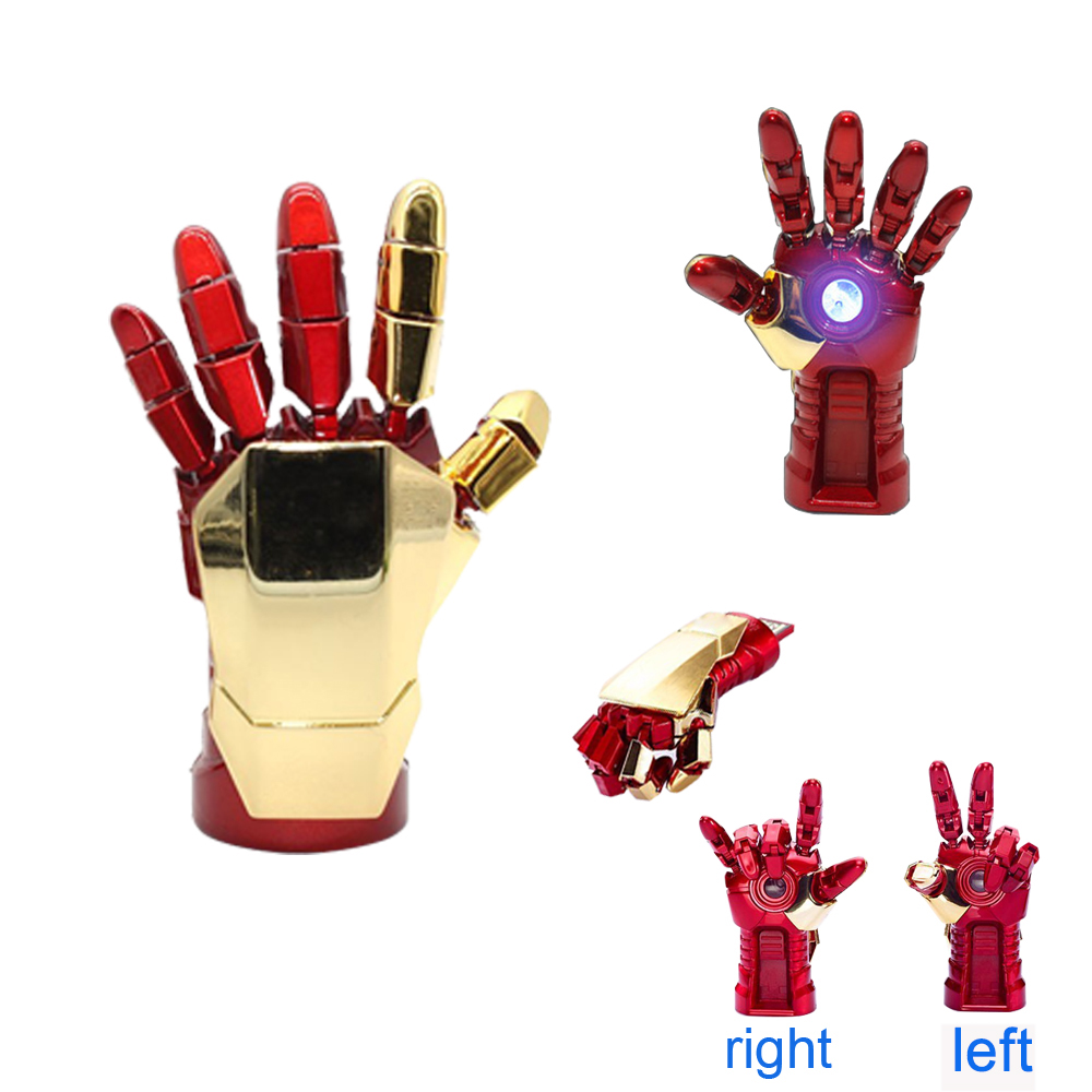 Pendrive 128GB Hero iron man hand LED light 4/8/16/32gb 64g memoria usb pen drive usb memory stick usb flash drive 16GB Key(China (Mainland))