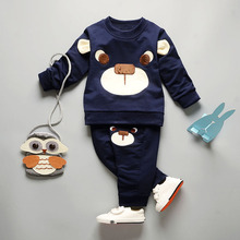 2017 new spring fashion baby cartoon clothing sets hooded jacket + trousers suit for infant chilren boys girls pullover clothes(China)