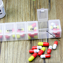 Practical 7 Days Weekly Tablet Pill Medicine Box Holder Storage Organizer Container Case Pill Box Random color(China)