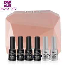 KADS 36W CCFL+LED Nail Gel Lamp Dryer & 4pcs gel polish + top & base coat set Diamond Shape Curing Nail Dryer UV Gel nail lamp(China)