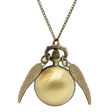 New Necklace 2017 Popular Drop Fine Jewelry Angel Wing Charm Golden Snitch Pocket Watch Men Vintage(China)