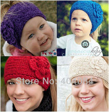 Fashion Adult Handmade knit Headband kids crochet Flower headwrap Earband Headwear 16colors 12pcs/lot