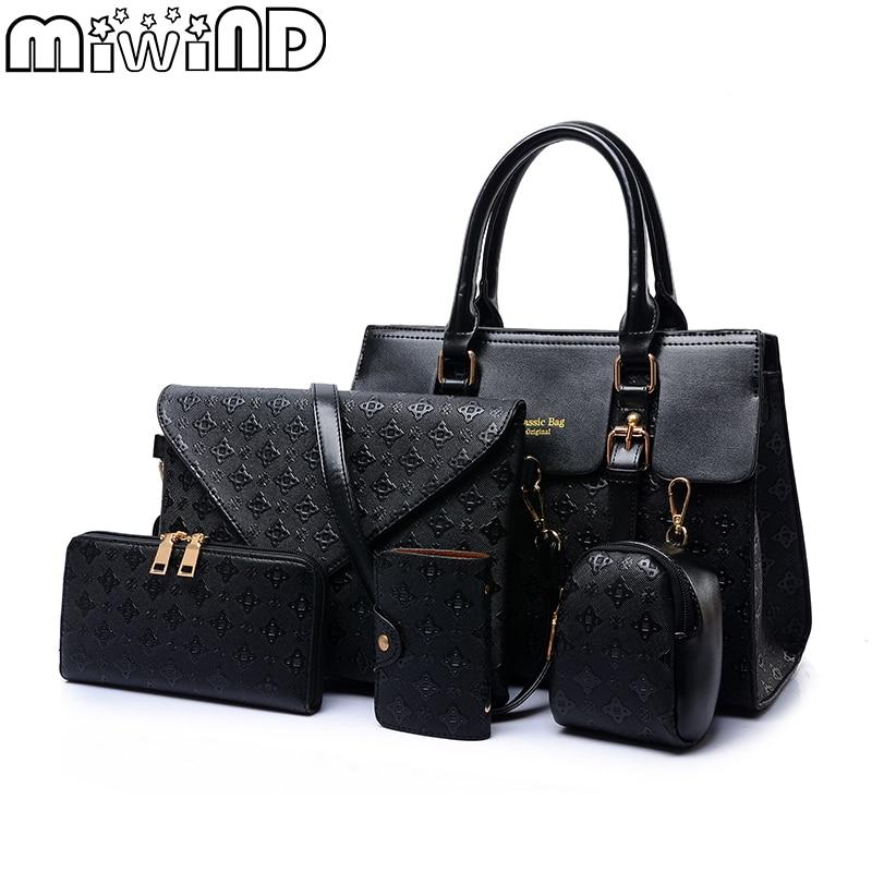 2018 New Women Shoulder Bags Leather Handbags Fashion Female bag High Quality 5-Piece Set Designer Brand Bolsa Feminina<br>