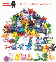 72pcs 144 Style Japanese Pocket Monster  figures pokeball  pikachu charizard figurine figuras doll lot for kids party supply