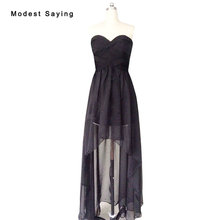 New Wholesale Cheap Black Bridesmaid Dresses 2017 Formal Women High/Low Chiffon Maid of Honor Dresses Pleated Party Prom Gowns