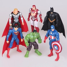 6pcs/lot the Avengers figures super hero toy doll baby hulk Captain America superman batman thor Iron man Toy figures child Gift