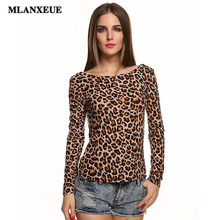 2016 Femme Summer New Style Women's Leopard Long-sleeved T-shirt Fashion Apparel Design Women Sexy Lace T-shirt Halter T-shirt