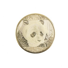 1 PC 2018 Chinese Souvenir Coin Replica Business Tourism Gold Panda Plated Home Decoration(China)