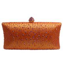 Hot Orange Crystal Clutch Evening Clutch Bags for Womens Party Crystal Evening Bags and Box Clutch Black/Green/Purple/Gray/Gold(Hong Kong)