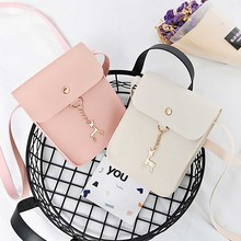 KSQ Fashion PU woman Leather Cell Phone Bag Wallet luxury Purse Neck Strap Shoulder bag Simple portable Casual Lovely Bags(China)