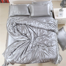 Hot Sale Luxury Grey Solid Satin Silk Duvet Cover Set Smooth Cold Summer Use Full/Queen/King Bedding Sets