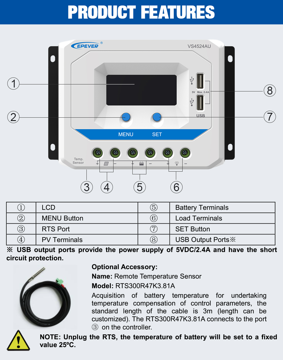 EPEVER 45A Solar Controller 12V 24V Auto VS4524AU PWM Charge Controller with Built in LCD Display and Double USB 5V Port_03