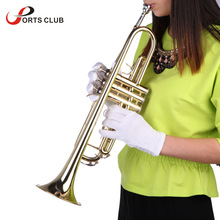 High Quality Bb B Flat Trumpet Exquisite Brass Trumpet with Durable Mouthpiece Gloves and Padded Box