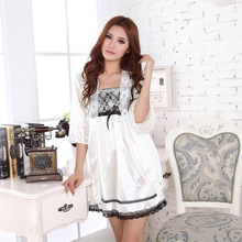 Hot Sexy SleepWear Silk Robe + Night Dress Night Gowns Nightwear SleepSkirt sets Casual Women Female Nightgowns lingerie(China)