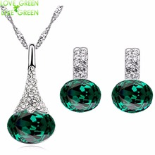new arrival brand bridal wedding wholesales white gold color Flower pendant necklace earrings fashion jewelry sets 80126