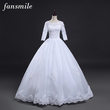 Fansmile Real Photo Vintage Lace Up Ball Wedding Dresses 2017 Customized Plus Size Bridal Wedding Gowns Free Shipping FSM-145F(China)