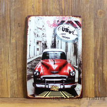HZ038 Cuba Old Car Vintage metal painting retro metal tin sign 20cm*30cm art posters wall stickers home cafe bar pub wall decor